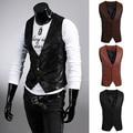 Men's Fashion Simple Design Slim Fit Faux Leather Vest Waistcoat Jacket Coat