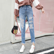 Купить с кэшбэком CTRLCITY Slim Hole Ripped Jeans for Women High Waist Denim Plus Size fashion Pants Blue Casual Design ladies Pencil Trousers