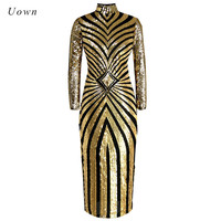 Long Sleeve Gold Sequin Dress Women Autumn Winter Stand Neck Geometric Sparkly Glitter Nightclub Runway Wear Long Party Dresses