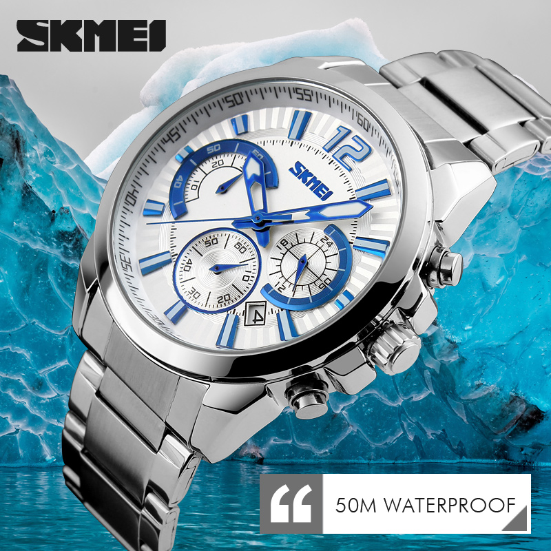 SKMEI Brand Fashion Casual Watches Men's 3ATM Waterproof Quartz Watch Men Date Clock Man stainless steel Military Wristwatch weide new men quartz casual watch army military sports watch waterproof back light men watches alarm clock multiple time zone
