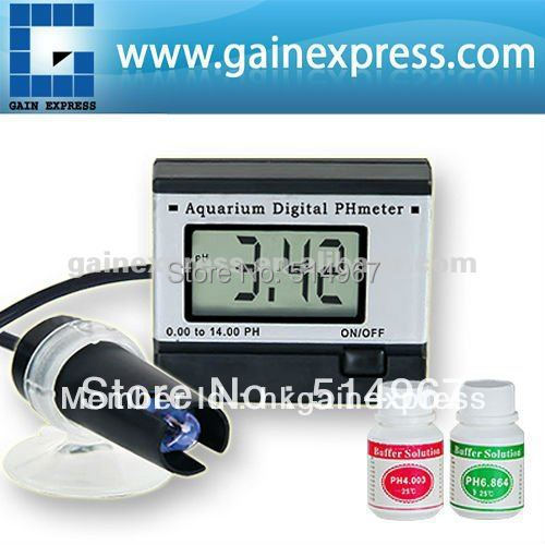 ФОТО Digital pH Meter Tester Monitor Hydroponics Aquarium with 1M 1Meter Fixed Cable 0.00~14.00pH + 2 Buffer solutions