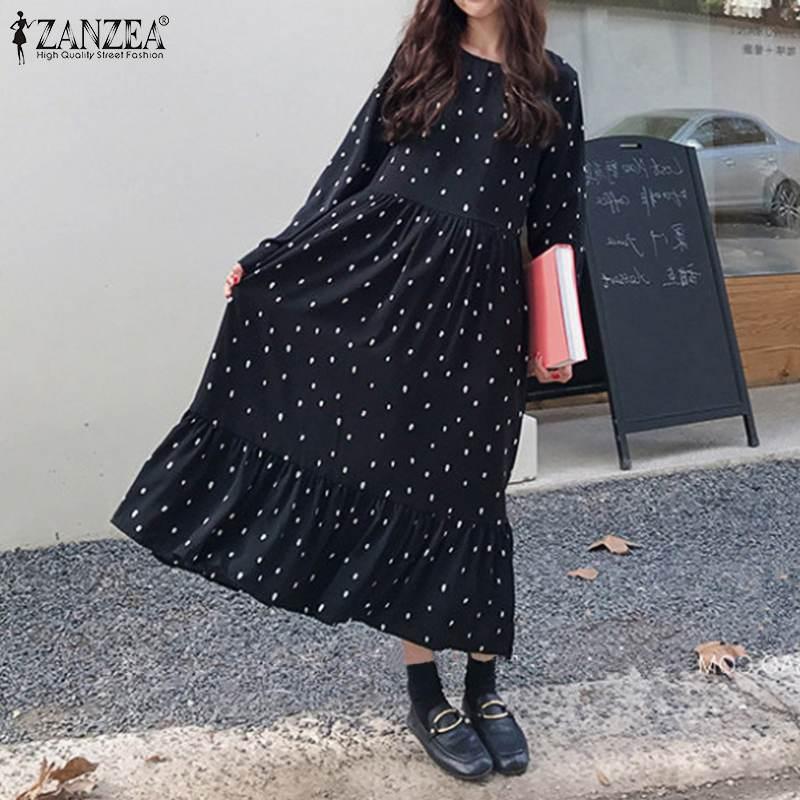 Zanzea 2019 outono vestido feminino maxi longo vestidos boêmio bolinhas babados hem verão vestido de praia robe femme camisas compridas