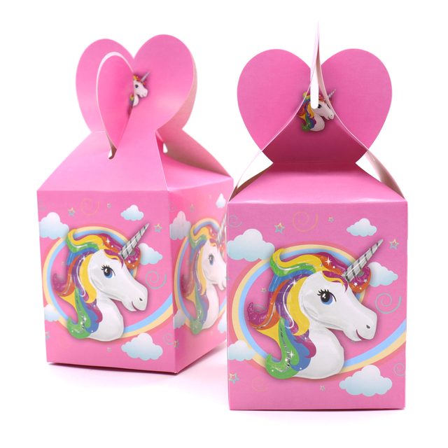 Us 2 59 15 Off 6 Pcs Unicorn Party Theme Pony Party Pink Color Unicorn Candy Box Decorations Birthday Party Kids Party Decoration Supplies In Gift