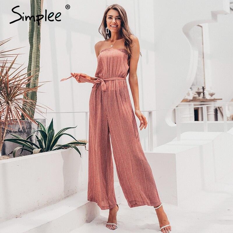 Simplee épaule dénudée sexy combinaison femmes élégantes ceintures combinaison longues barboteuses été solide imprimé léopard salopette combishort 2019