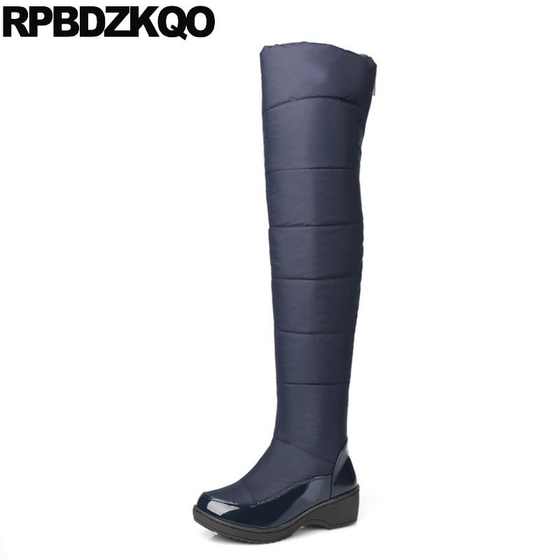Bout Noir Bas Étanche Mince Sur Marine 2017 bleu Dames Bottes Neige Rond Femmes Zipper Long Chaussures Bleu Genou Hiver Talon La Chunky Haute ZaWgOnZz1