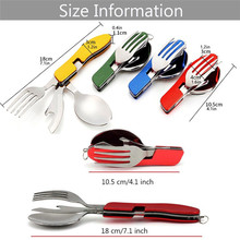 Stainless Steel 4 in 1 Outdoor Tableware Fork Spoon Knife Bottle Opener For Camping and Hiking