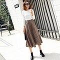 Mulheres 2016 outono inverno da marca american apparel saias de lã xadrez vintage longo saia de cintura alta midi saias longas quentes de inverno