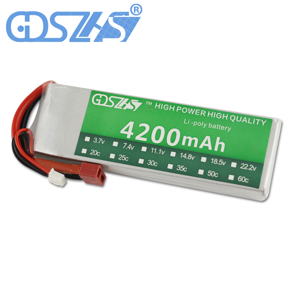 GDSZHS Power 7.4V 4200mAh Lipo Battery 30C 2S Battery 2S LiPo 7.4 V 4200mAh 30C 2S 1P Lithium-Polymer Batterie For RC Car 1s 2s 3s 4s 5s 6s 7s 8s lipo battery balance connector for rc model battery esc