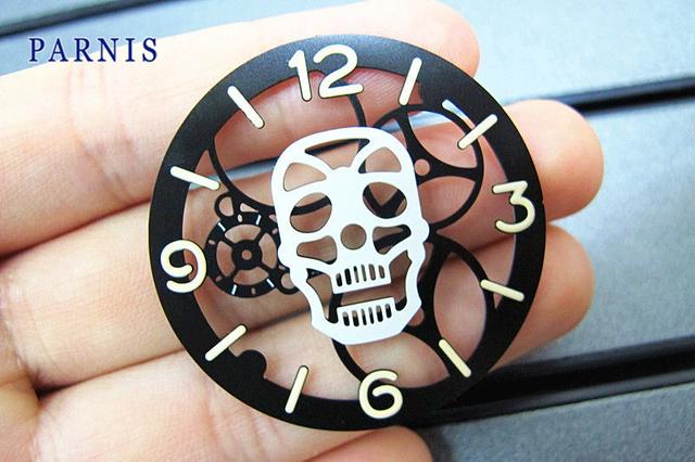38.85mm Moda Branco Crânio Luminosa Preto Mostrador do Relógio Rosto Frete Grátis, Venda Barato Assista Acessórios Peças
