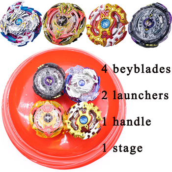 4pcs Beybalde+2pcs Launcher+1 Handle+1 Stage New Burst Beyblade Set Spinning Top Fighting Gyro Classic Toys Gift For Children #E beyblade set