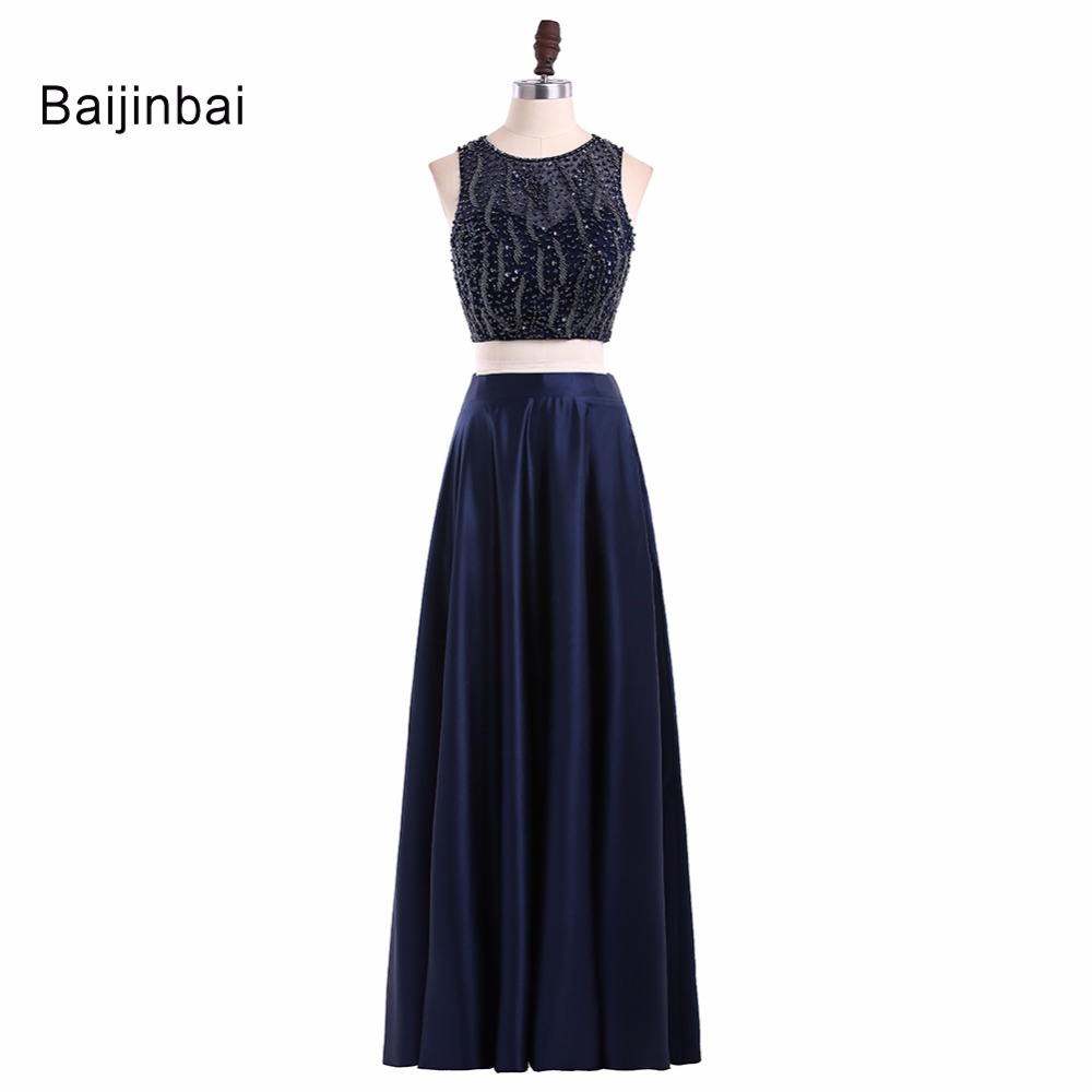 Baijinbai Two Pieces Black Prom Dresses 2019 A Line Beading Robe De Soiree Custom Made Special