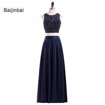 Baijinbai Two Pieces Black Prom Dresses 2020 A-Line Beading Robe De Soiree Custom Made Special Occasion Evening Gowns