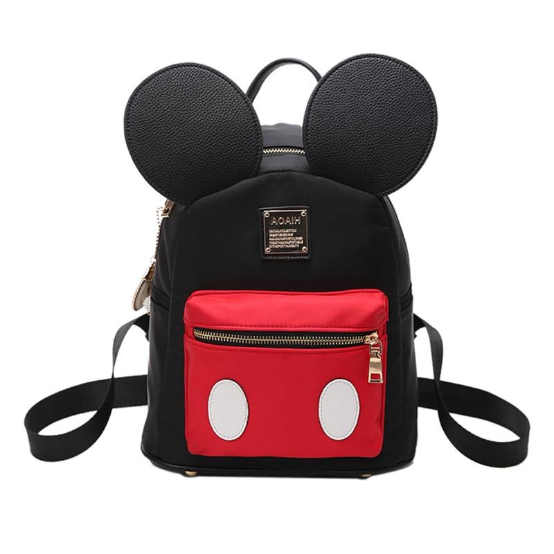 b85d0a8721cc Мода Микки женский рюкзак нейлон черный для отдыха в ночном клубе, школьный  рюкзак мини школьный рюкзак для детей mochila S178