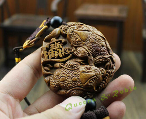 Wood Carving Chinese Feng Shui Wealth Coin Gold Frog Car Pendant Amulet Craft