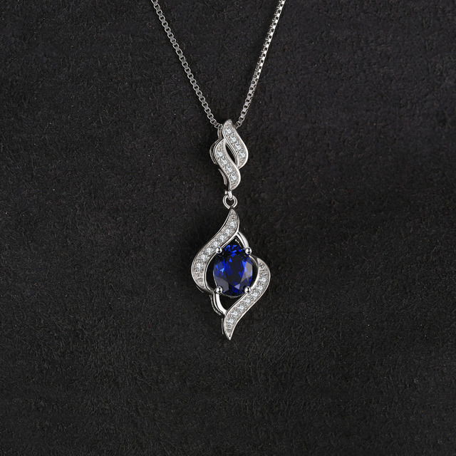 1.95ct Created Blue Sapphire 925 Sterling Silver Chain Necklaces 1