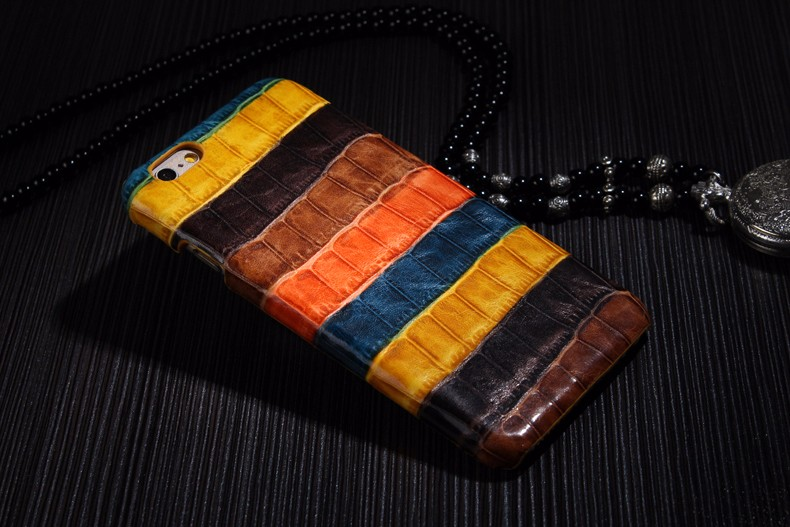 orange color case for iPhone 6 6S Plus crocodile genuine leather