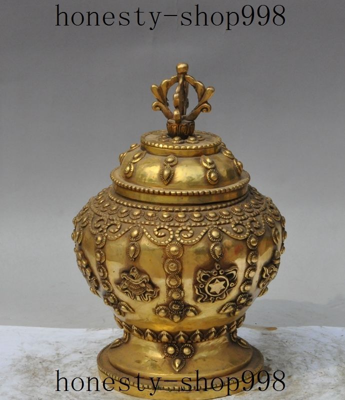Tibet buddhism brass Auspicious Eight treasures statue Vase Jar Pot CrockTibet buddhism brass Auspicious Eight treasures statue Vase Jar Pot Crock