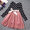 Vestido de outono Para O Desgaste Da Escola Menina Polka Dots Tutu Boutique Crianças Trajes Crianças Roupas Infantis Vestidos de Festa Da Princesa da Menina