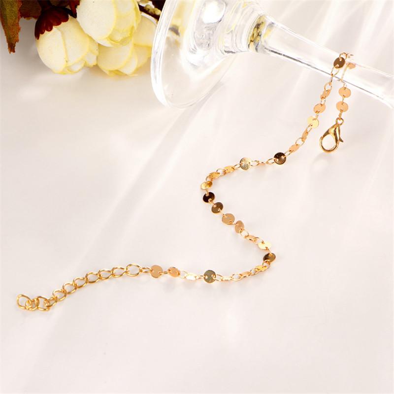 MISANANRYNE Simple Women/Men Bangle Gold Color personality retro alloy round Flat sequins Link Chain Bracelet Pulseira 8