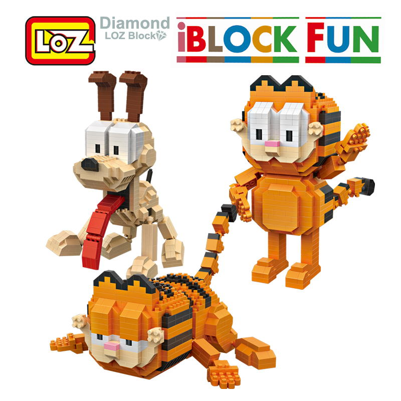 LOZ Garfield Odie Orange Cat Dog Cartoon Character of American Building Diamond Blocks Figure Toy For Age 14+ Offical Authorized