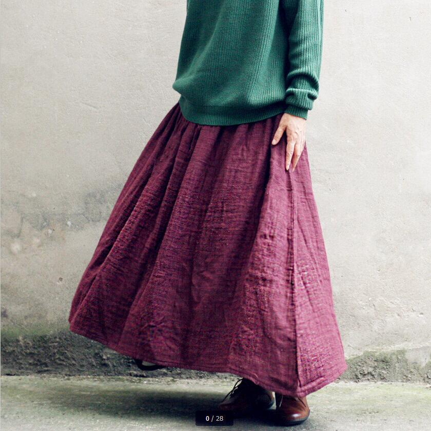 Autumn 2020 Summer New Vintage Cotton Linen Pleated Women Long Maxi Tulle Solid Casual Skirt Plus Size S-4XL 5XL Elastic Waist