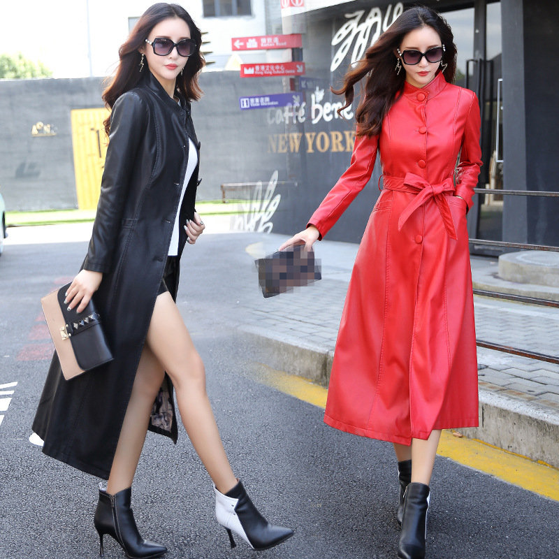 Stand Collar PU Leather Women Plus Long Locomotive Slim Large Size Autumn Leather Windbreaker Tide Elegant   Trench   Coat MZ2848