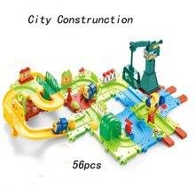 56pcs Cars Toys Thomas Train 3D City Construction Electric Train Building Blocks Toys for Children