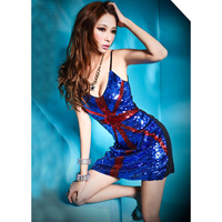 Sexy sequined dress American flag pattern Knight Style Clothing Sets Performances Luxurious Jazz Pole Dancing Clothing