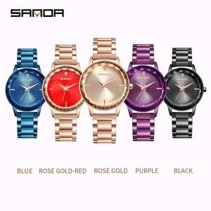 Image 5 - Reloj de cuarzo Sanda de lujo para mujer, relojes de pulsera de diamantes con gradiente, reloj de cuarzo para mujer, reloj Casual para mujer, reloj femenino