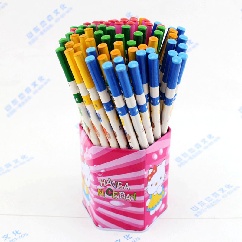 Learning Supplies 72 Bottled Pencils Cute Cartoon Wood Safety Non-toxic HB Pencils Pupils Children Admission Writing Pencils