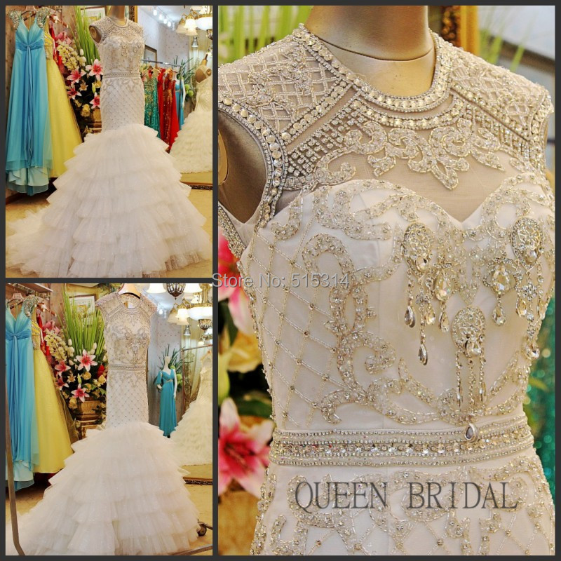 High neck open back tulle puffy crystle crystal beaded mermaid wedding dress 2017 bridal dresses wedding gown QUEEN BRIDAL BS43