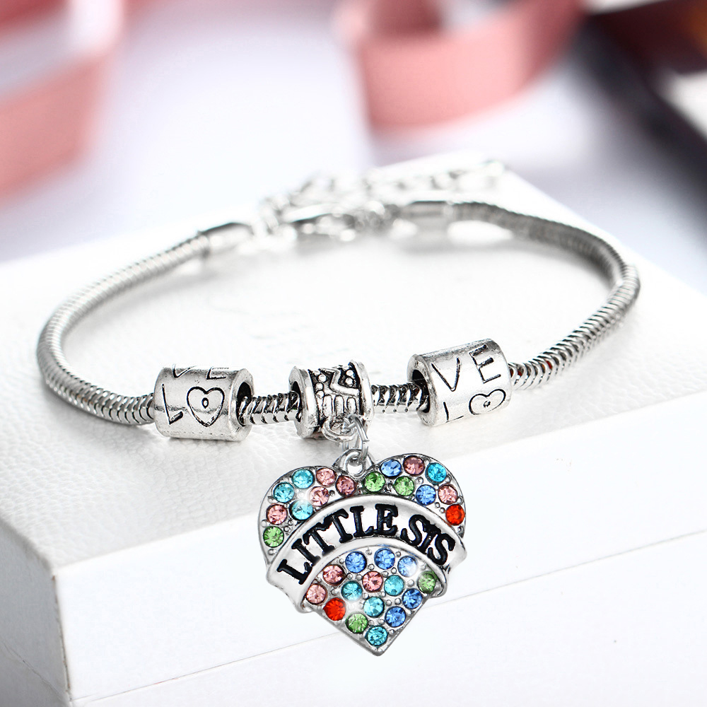 Fashion Family Sister Sis Bracelet Colorful Crystal Heart Love Beads Chain Bangles Women Friends Charm Jewelry Gifts Wristband