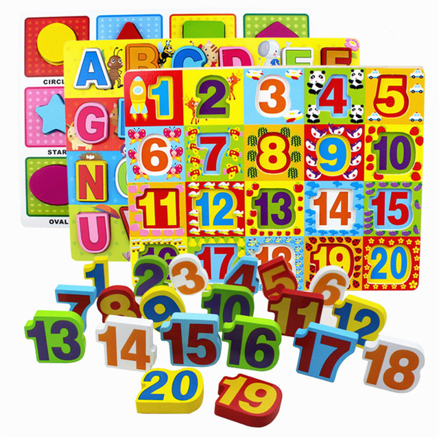 Baby Educational Toys Digital/Alphabet/Geometric Shape 3D Puzzle Wooden  Toys Early learning Child Birthday Gift-in Puzzles from Toys & Hobbies