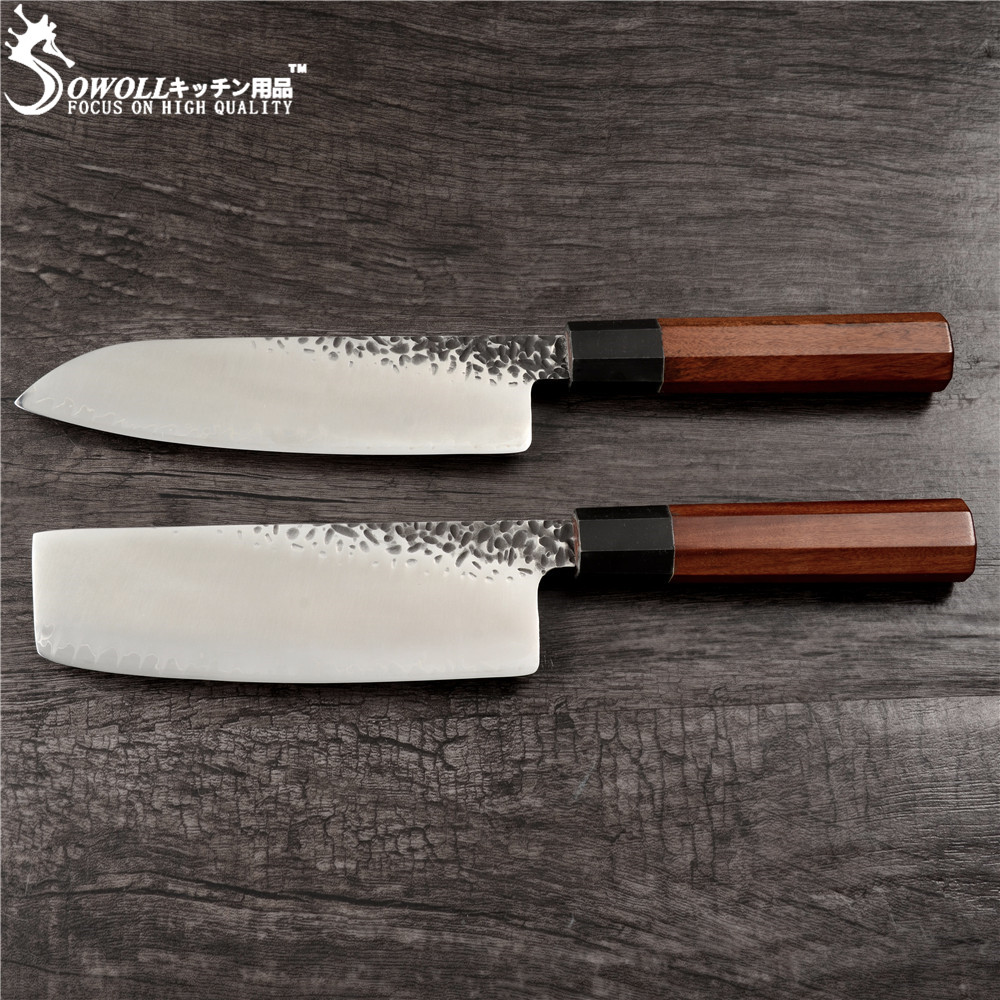 SOWOLL Hand Made Forged Kitchen Knife Damascus Steel Japanese Chopping Santoku Knife Very Sharp Blade Wood