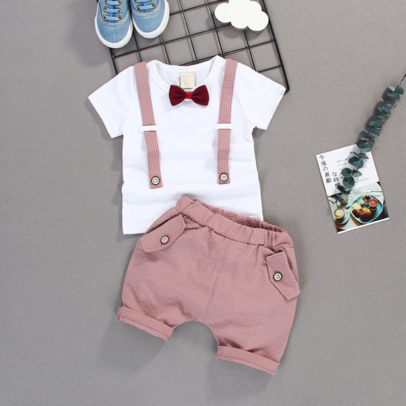 Children Baby Boys Cotton Clothes 2020 Summer Infant Kid Gentleman Outfits Bowknot Tie T-Shirt 2pcs/Set Toddler Fashion Clothing