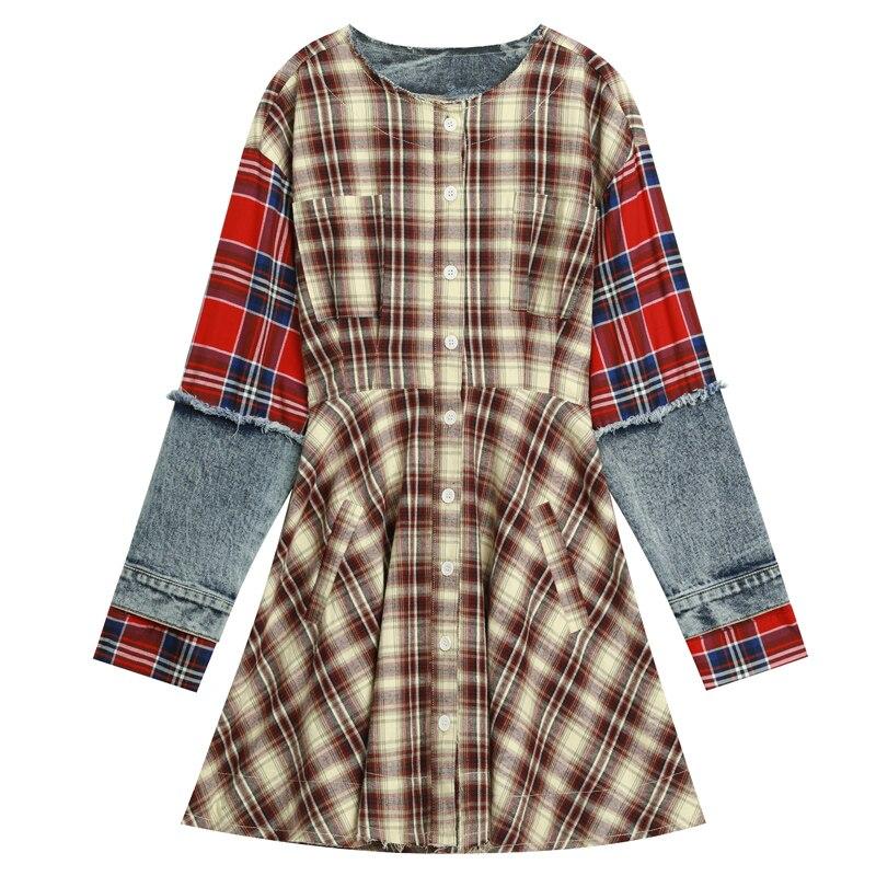 ELF SACK 2019 New Fashion Woman Dress Casual Plaid Full O Neck Women Dresses Denim Patchwork Ladies Dresses Female Vestidos in Dresses from Women 39 s Clothing