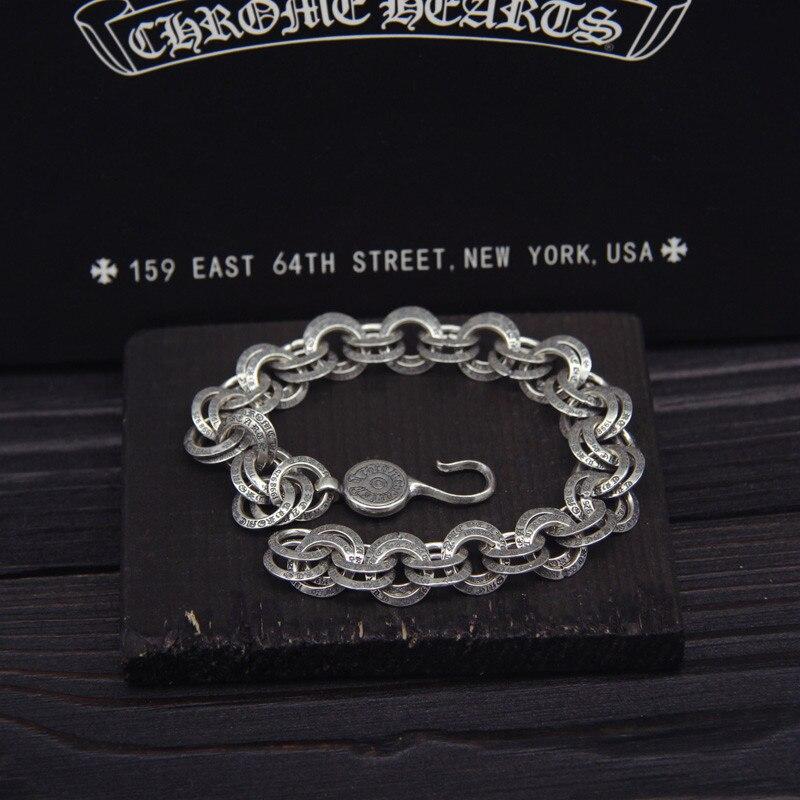 925 Sterling Silver Double Circyle Letters Retro Vintage Bracelet Men Women Bracelet Men