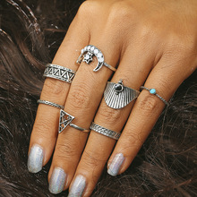 2018 NEW Pattern Mix Finger Midi Ring Sets 2017 Vintage Moon Triangle Knuckle Rings for Women Man Boho Jewelry New 7 PCS/Set sweet rhinestoned letter s pattern design triangle ring for women