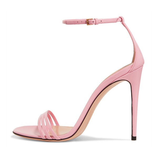 41c8cacb176e93 Women s Pink 4 Inches Stiletto Heels Open Toe Ankle Strap Sandals Buckle PU  Solid Elegant Wedding