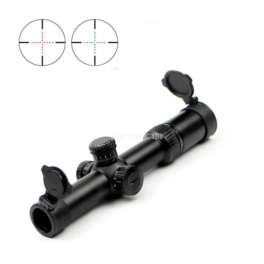 Q1.5-6x24E Hunting Tactical Red Green Mil Dot Sight Scope Long Eye Relief Glass Reticle Rifle Scope Sniper Riflescope