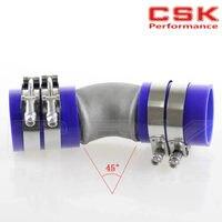 2.5 Cast Aluminum 45 Degree Elbow Pipe Turbo Intercooler+ silicone hose kit BLUUE