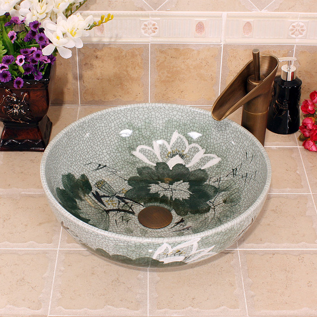 Crack Design China Painting Lotus Ceramic Painting Art Porcelain Bathroom Vessel  Sinks Round Above Countertop Wash