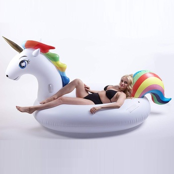 200cm Giant Inflatable Unicorn Pool Float Ride-On Pegasus Swimming Ring For Adult Children Water Party Toys Air Mattress