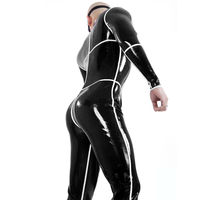 MONNIK latexBlack Latex Men Bodysuit with Socks White Strips Rubber Costumes Catsuit Club