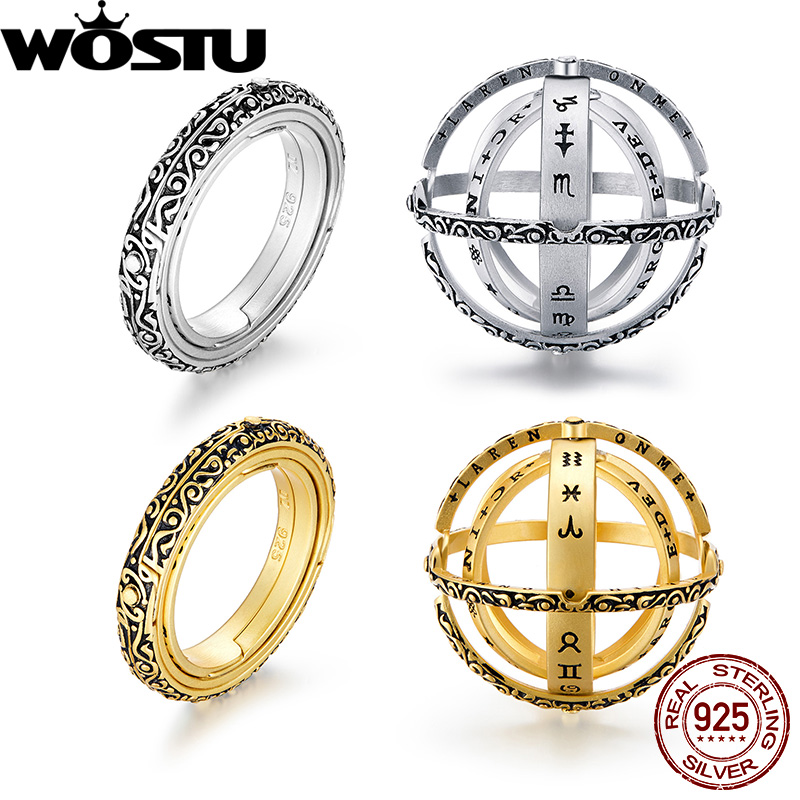 WOSTU 100% Real 925 Sterling Silver Astronomical Sphere Ball Ring Cosmic Rotating  Vintage Finger Silver 925 Jewelry CQR559WOSTU 100% Real 925 Sterling Silver Astronomical Sphere Ball Ring Cosmic Rotating  Vintage Finger Silver 925 Jewelry CQR559