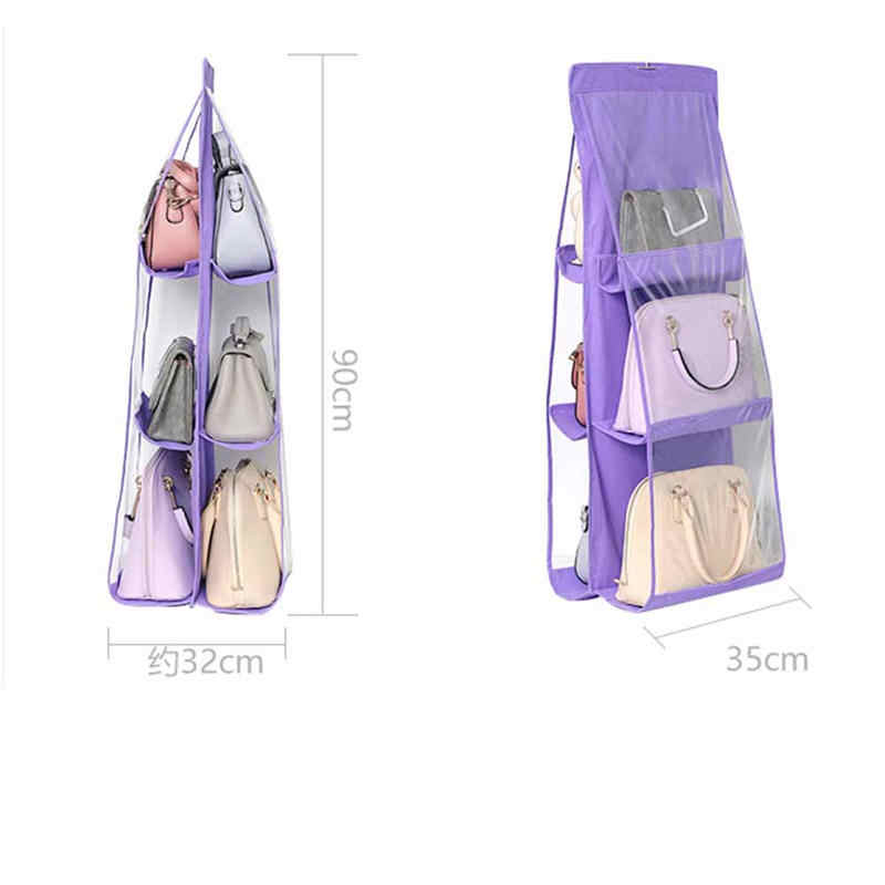 6 Pocket Hanging Handbag Organizer for Wardrobe Closet Clothes Storage Bag Door Wall Clear Sundry Shoe Bag Home Hanger Pouch