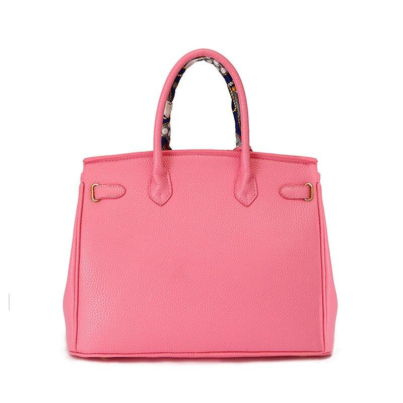 Brand designer High quality PU leather handbag with gold lock scarf 30cm 35cm woman bags fashion  designers bolsas femininas