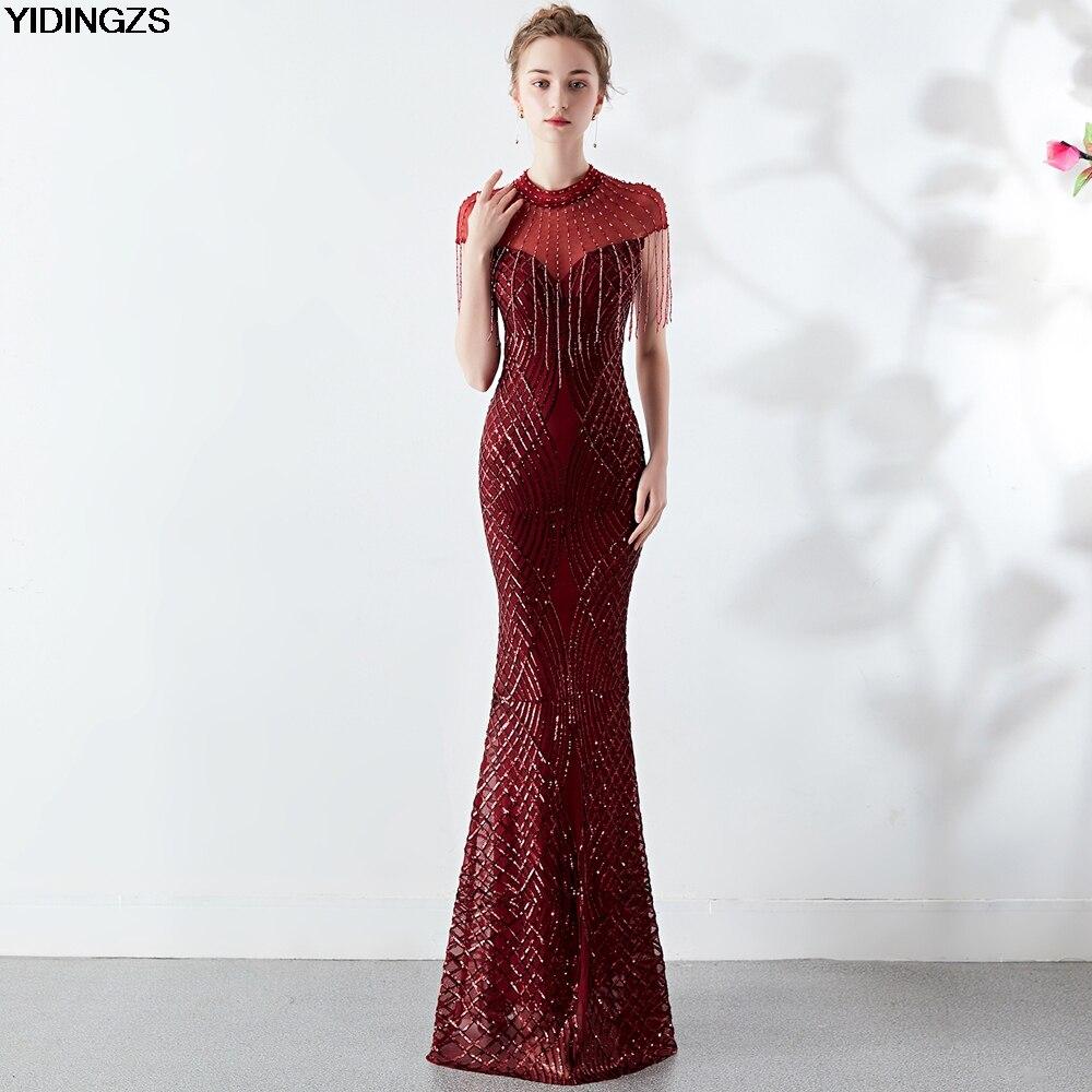 YIDINGZS Sequins   Evening     Dress   See-through Back Elegant Beading Long   Evening   Party   Dresses