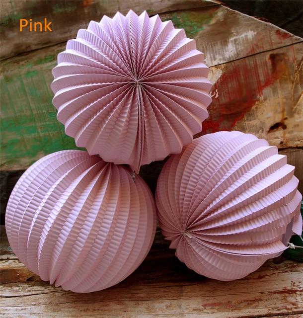 Nice 5pcs/lot 10inch(25cm) Japanese Pink Paper Accordion Lanterns Wedding Bridal  Baby Shower Good Looking
