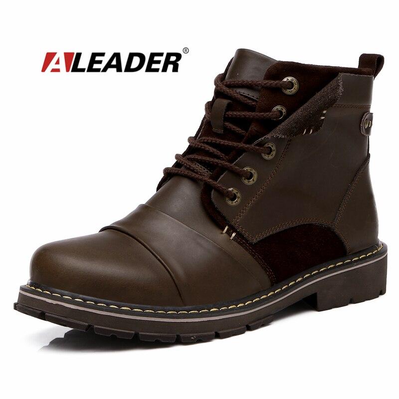 4d2cff64c8710 Hombre de la moda Otoño Botas Impermeable Botines de Cuero Genuinos  Ocasionales para el Hombre Occidental Botas de Trabajo Zapatos de Los Hombres  Botas ...